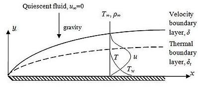Figure 2 Natural convection over a horizontal flat plate