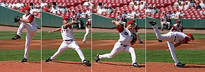 A baseball  pitcher  does positive work on the ball by transferring energy into it.