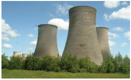 Cooling towers in Didcot Power Station in England.