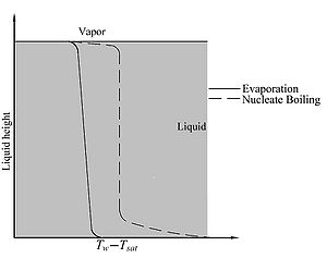 Schematic comparison of evaporation and nucleate boiling temperature profiles