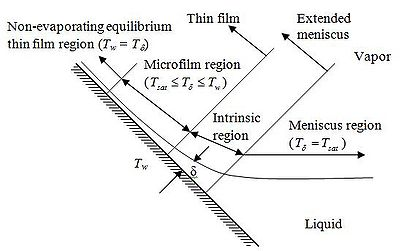 Figure 3 Thin liquid film on a solid surface.